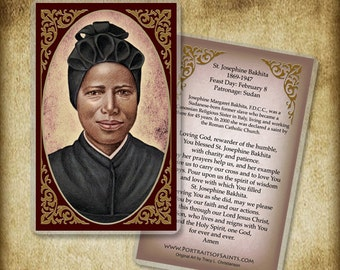 St. Josephine Bakhita Holy Card or wood Magnet  #0118