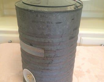 Primitive TTI 3 Gallon Water Tank Galvanized Metal Cooler By Houston, TX Industrial Kitchen Vintage Camping Cooler