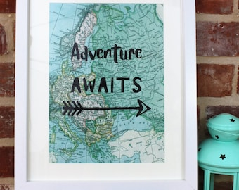 Map of Europe, Travel Quote, Adventure Awaits, Travel Map, Gift for traveller, Vintage Style Map, Leaving Gift, Graduation Gift