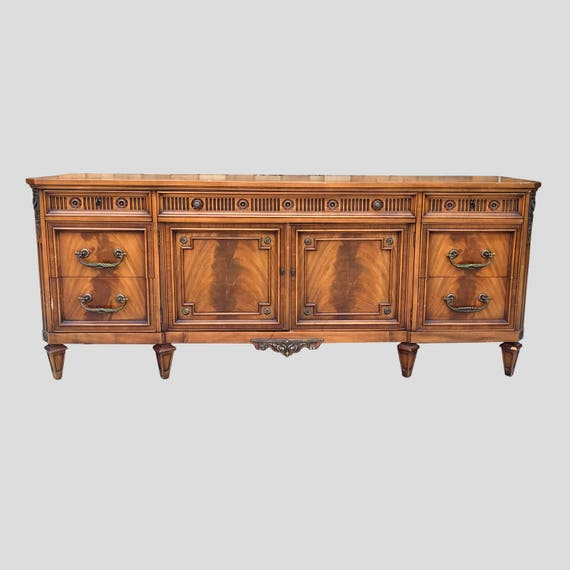 20 SALE 1967 French 78 Walnut Filigree Credenza By JL