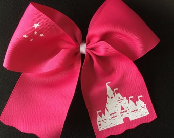 Castle hairbow in Shocking Pink