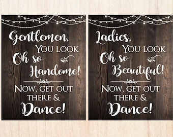 Wedding Bathroom Sign. PRINTABLE Rustic wedding bathroom signs. ladies look oh so beautiful. gentlemen/ digital instant download decor