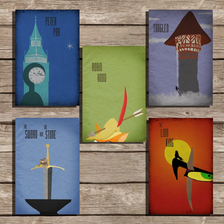 All 5 Disney Posters Pixar Poster Movie Art