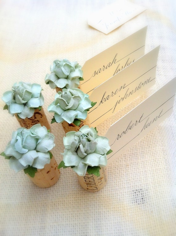 Succulent name card holder wedding wine themed bridal shower junglespirit