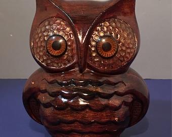 Vintage Ceramic Orange Brown Glaze Pottery Owl Bank