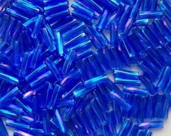 Czech Republic, 7mm Sapphire Blue AB Glass Bugle Beads, 20 grams