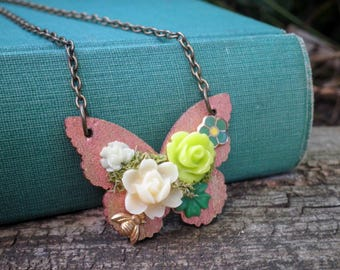 Wood Butterfly Mini Succulent Garden Flower Necklace - Floral Butterfly Collage - Flowers & Tiny Bee Nature / Insect / Animal Jewelry Gift