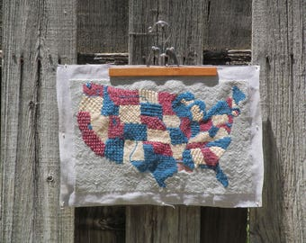 Vintage United States of America Embroidery Map, 48 states, Red White and Blue