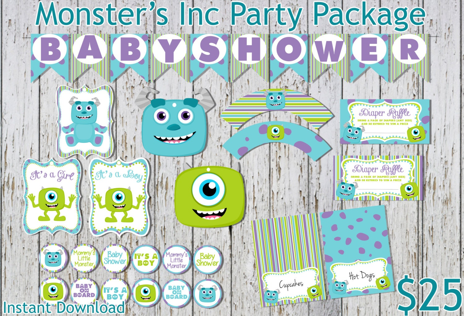 ?zoom  sc 1 st  Etsy & Monsters Inc Inspired Baby Shower Party Package