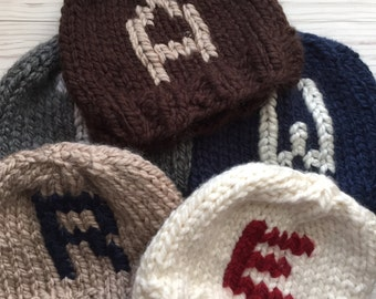 Custom Monogram knit hat, personalized hat, custom monogrammed hat, customized letter hat, monogram beanie hat, monogrammed pom pom hat