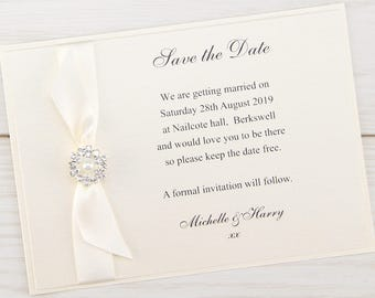 SAMPLE * Dior Bow Save the Date Cards Classic Luxury Wedding Range