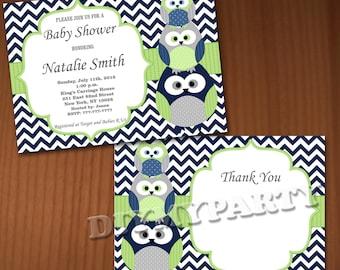 Owl Baby Shower Invitation Boy Baby Shower invitations Printable Baby Shower Invites -FREE Thank You Card - editable pdf Download (538) blue