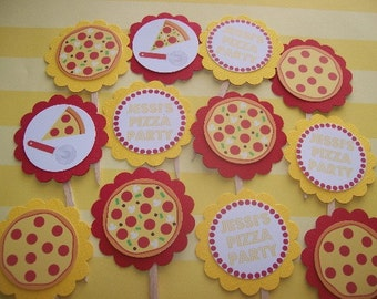 Pizza Party cupcake toppers