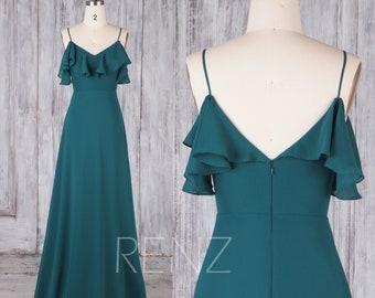 Bridesmaid Dress Forest Green Chiffon Dress,Wedding Dress,Spaghetti Strap Prom Dress,Long V Neck Ruffle Dress,Off Shoulder Maxi Dress(H657)