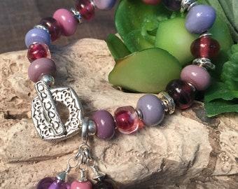 MISTY PLUM, artisan lampwork and sterling silver bracelet