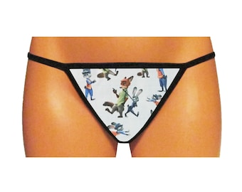 Zootopia Thong/G-String - 3 Options Available (Made From 100% Cotton Licensed Fabric)