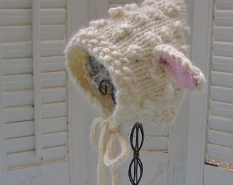 Lamb Baby Bonnet NB RTS in Organic Cotton  OR Alpaca  for Baby or Toddler