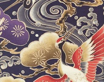 MAJESTIC CRANES -  Purple Asian Japanese Fabric (BTY)