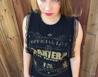 Pantera Custom Tee, Rock Band tee, Band t-shirt, Custom Tee, Handmade Shirt, Lace Up Rock Band shirt, Band Shirt