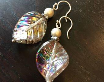 Swirling Silverleaf Glass Leaf Dangle Earrings