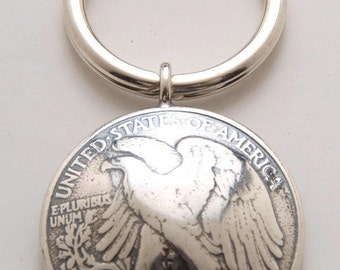 Silver Eagle Keyring made From Vintage American Half Dollar Coin