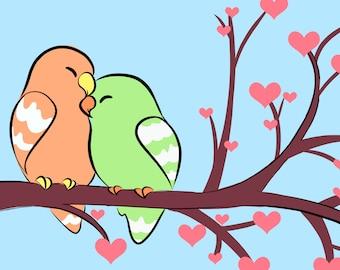 10 PACK 4x6 Postcards. Lovebirds- Original Artwork. Digital Print. Animal Design.