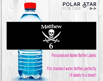 Jolly Roger / Pirate Flag - Personalized Water Bottle Labels for Birthday Party - Printable Digital File