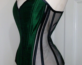 BESPOKE Green silk dupion and sheer overbust corset