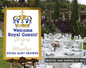 Royal Prince Welcome Sign - Baby Shower Prince Sign - Welcom Sign First Birthday, Printed FOam Board Sign