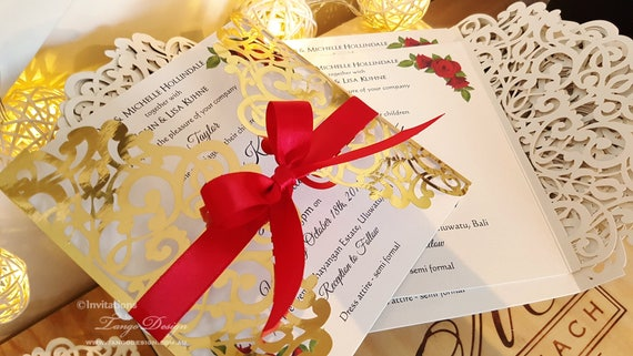 White And Red Wedding Invitations: Roses And Gold Foil Wedding Invitation White Gold And Red