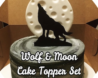 2 pc. Moon & Wolf Cake topper