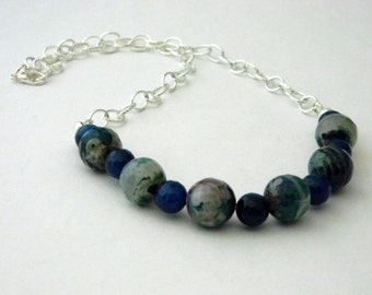 Blue Fire Agate Chain Necklace Lobster Clasp Stone Necklace