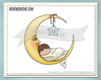 Digital Stamp - Moon Baby - sleeping baby printable digi image