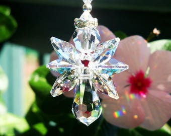 Angel Rear View Mirror Charm, Swarovski Crystal Suncatcher for Car, Rearview Mirror Accessories