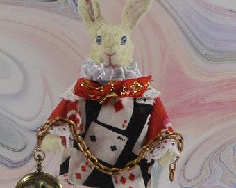 White Rabbit Alice in Wonderland Story Character Animal Figurine Miniature Art
