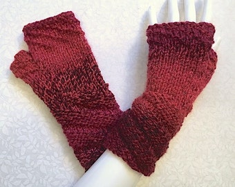 Knit Fingerless Gloves, Red Hand Warmers, Fingerless Mitts _Twisty Cuff_Red - Mixed Berries FG-TC104