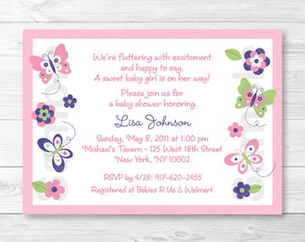 Pink Butterfly Baby Shower Invitation / Butterfly Baby Shower Invite / Butterfly Baby Shower / Pink & Purple / PRINTABLE A248