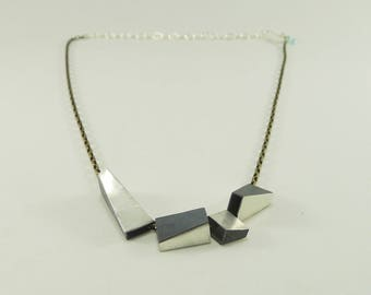 Sterling Silver Angular Boxes Necklace
