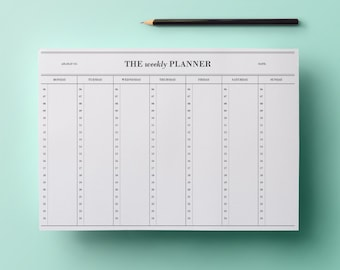 50% SALE | Weekly planner - hours (6 am to 12 am) #5 | Cute Stationery