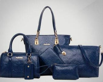 Floral Embossed 5 Pce Leather Hand Bag Set in 4 Colors