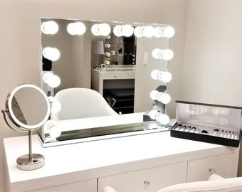 Hollywood lighted vanity mirror large makeup mirror with xl bluetooth frameless hollywood forever lighted vanity mirror w dimmer dual outlets mozeypictures Gallery