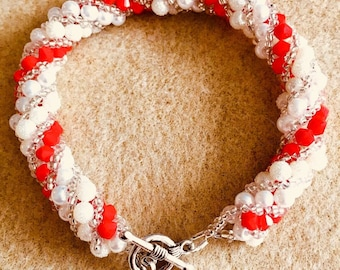 Red andy white candy cane bracelet RDWHSB1027