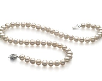 White Freshwater Cultured White Pearl Necklace In 925 Sterling Silver In Two Size - 9mm & 10mm