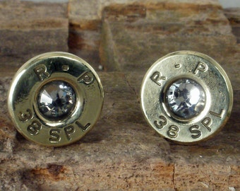 Crystal Bullet  Earrings - April Birthstone - Ultra Thin - Crystal