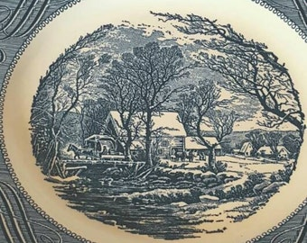 Currier and Ives Old Grist Mill Set Dinner Plate, Royal, 1960's Kitchen, Blue and White China Dinner Plate