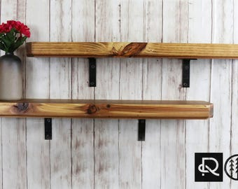 "RustiC DecoR-(Set of 2) Industrial Wood Wall Shelves-(24"" Lx 6"" W x 2"" H)(Golden Redwood)"