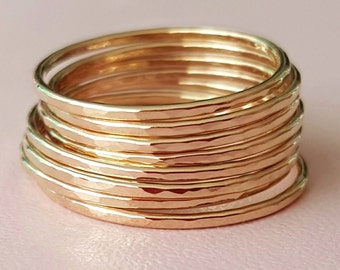 Skinny Gold Rings super thin ring gold filled midi ring stackable hammered rings