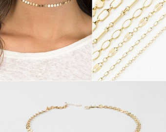 Dainty Chain Choker / Gold or Silver Chain Necklace / Trendy Choker Necklace /Layering Piece/ Perfect Chain Choker by Layered and Long LN000