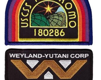3-Piece Set BLACK Nostromo Weyland Yutani Alien Movie Costume Patches