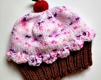 Handmade hand knit Cupcake Hat with Cherry on Top Milk Chocolate Brown Cake Cotton Candy Pink Frosting with Sprinkles Children Baby Toddler